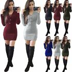 Damen Bodycon Slim Winter Pullover Minikleid Strick Cocktail Party Langarm Kleid Preis 9,79 EUR*