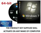 Windows 7 Ultimate 64 bit DVD SP1 Full Version & COA License Product Key GENUINE Preis 12,45 GBP*
